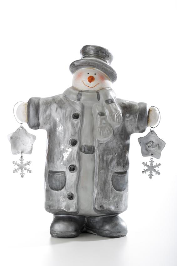 Silvery snowman figurine