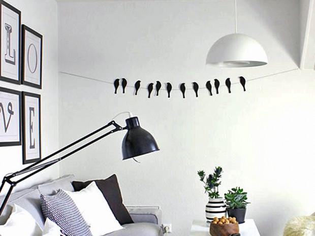 wohnzimmer vogel girlande
