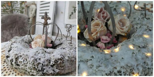 Weiße-Weihnacht-Effekt auch ohne Schnee: Der Dekokranz im Wachskleid.