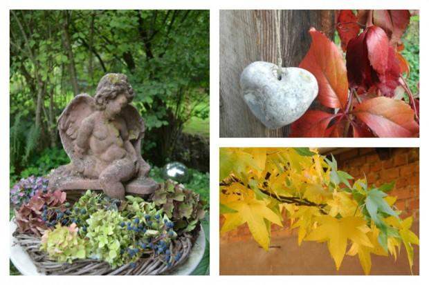 Heikes Deko-Engel wird durch einen Kranz aus Hortensienblüten in Herbststimmung versetzt.